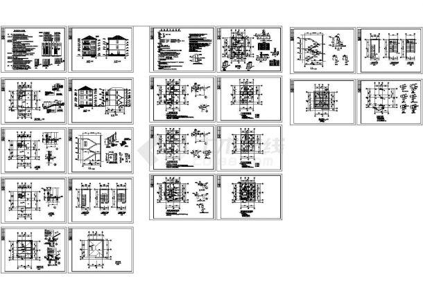 某300㎡地上三层框架结构别墅建筑结构施工CAD图纸,标注明细-图一