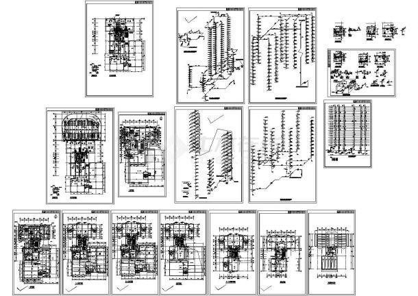 -1+24层住宅电教馆楼给排水施工图(长47.9米 宽29.5米)-图一