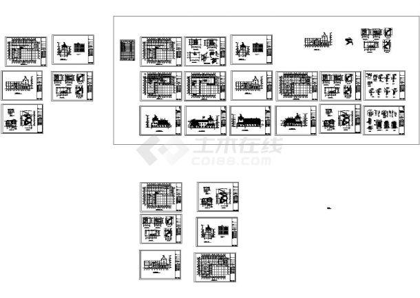 2层7字形滑铁卢饭店建筑施工图(长33.3米 宽23.4米)-图一