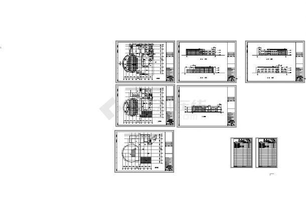 2层4787平米中学校食堂建筑扩初图( 长59.4米 宽57.9米)-图一