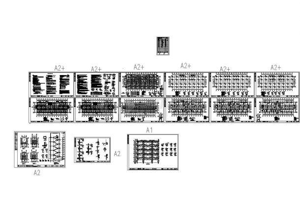 学士四层框架结构员工宿舍结构设计cad图纸,共5张-图一