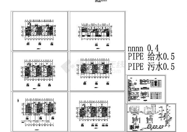 长41.5米 宽15.4米5层3175平米5户联排别墅暖通施工图纸-图一