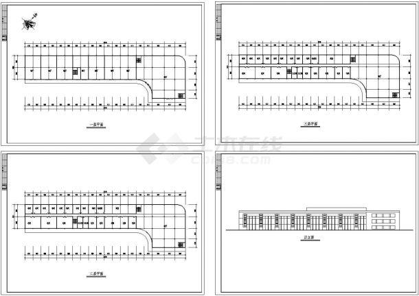 3层饮食城建筑方案设计图(长121.1米 宽32.4米)-图一