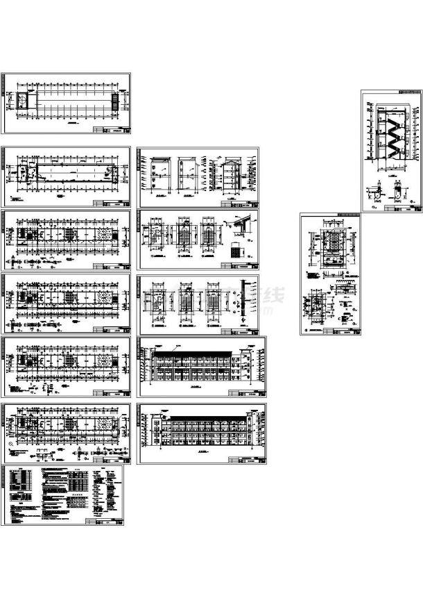 700平放米四层框架结构学校教学楼建筑施工图,共十四张-图一