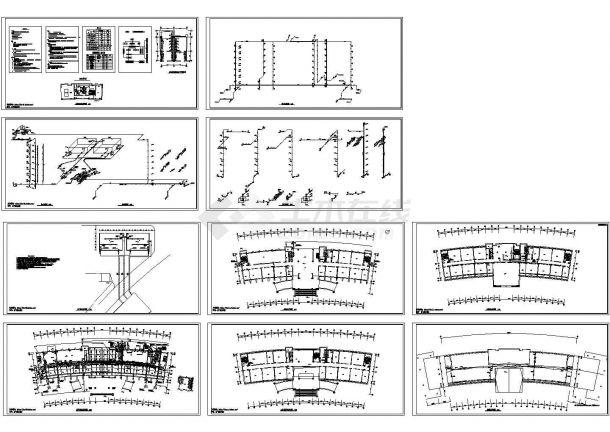 长60米 宽19.2米 -1+7层弧型办公楼给排水施工图-图一