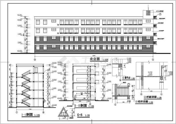 某小学四层框架结构教学楼建筑设计方案图纸图片