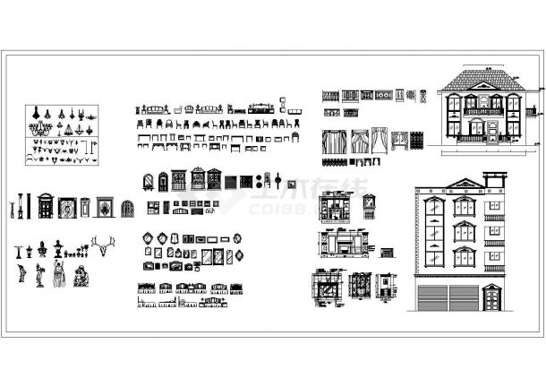 经典欧式风格室内装修设计cad物品图图库(大院设计)-图一
