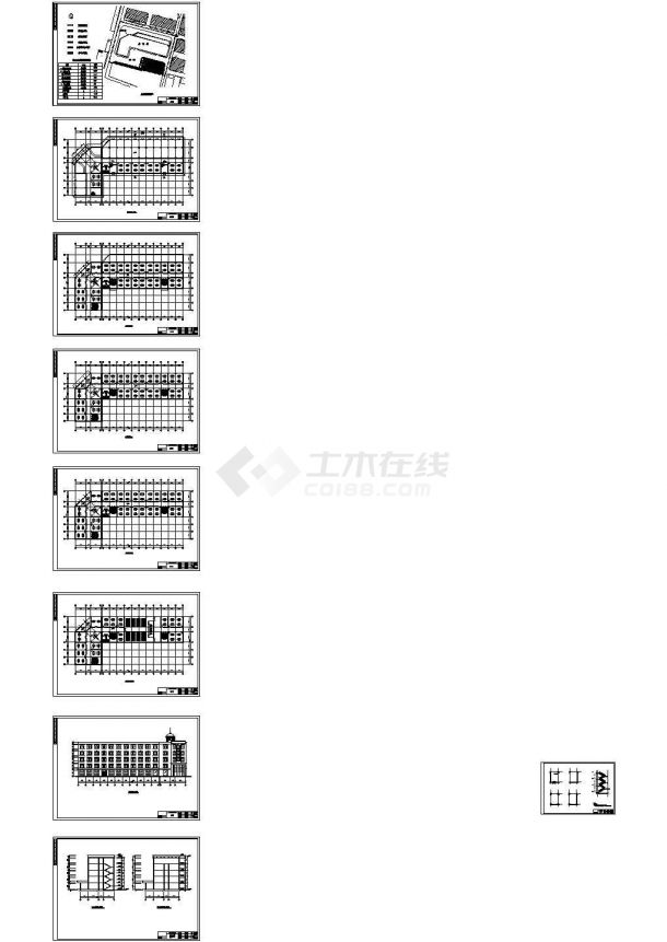 4700平米五层办公楼毕业设计cad图,含设计说明-图一