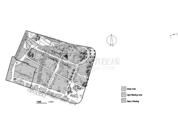 上海某公园环境绿化园林施工图(标注比较详细)-图一