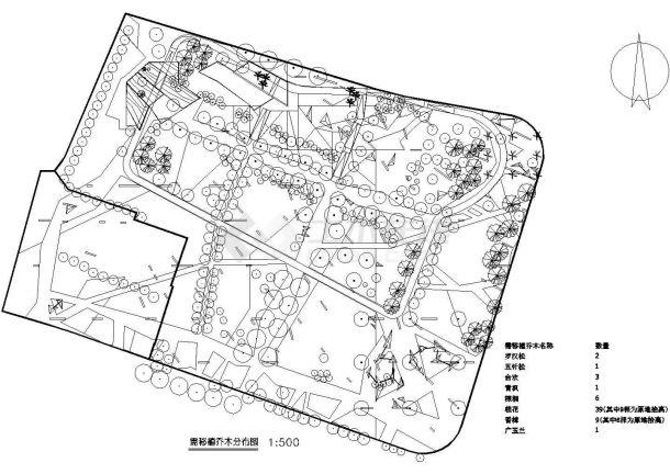 上海某公园环境绿化园林施工图(标注比较详细)-图二