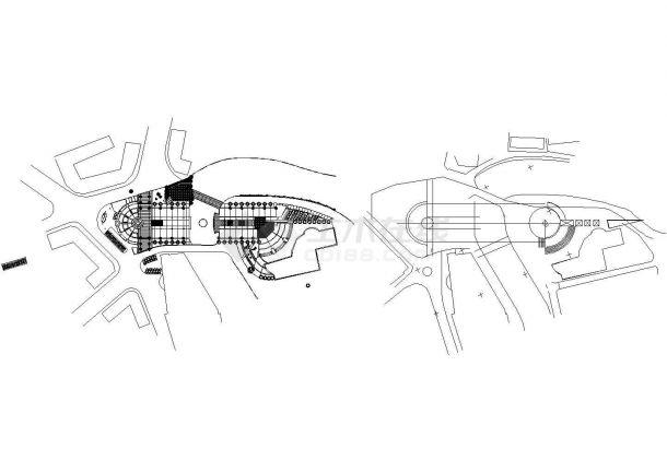 四川省内江市大洲坝广场水景茶园园林施工图-图一