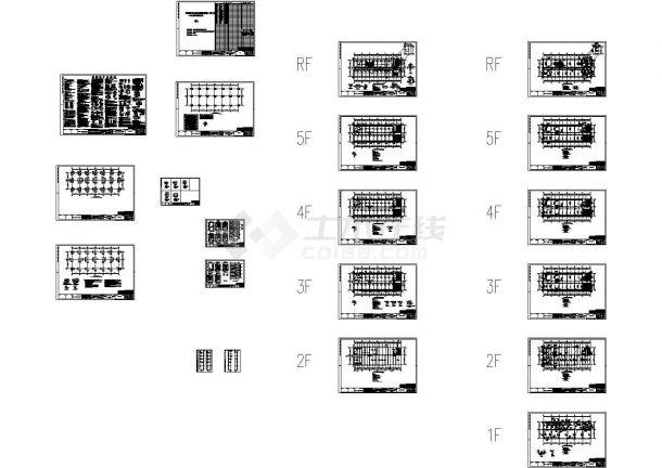 昆山市五层办公楼框架结构设计施工CAD图-图一