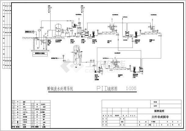全套电镀废水处理工程工艺流程图纸-图二