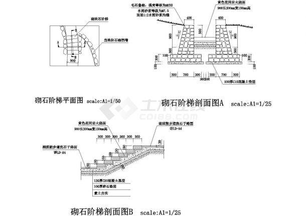 砌石阶梯节点详图-图一