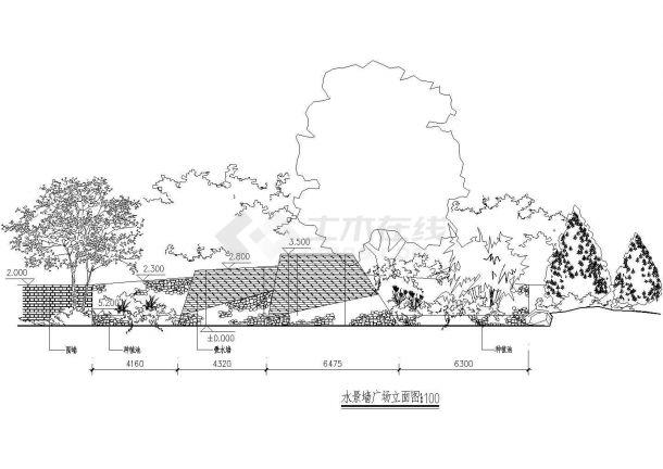 水景墙广场节点详图-图二