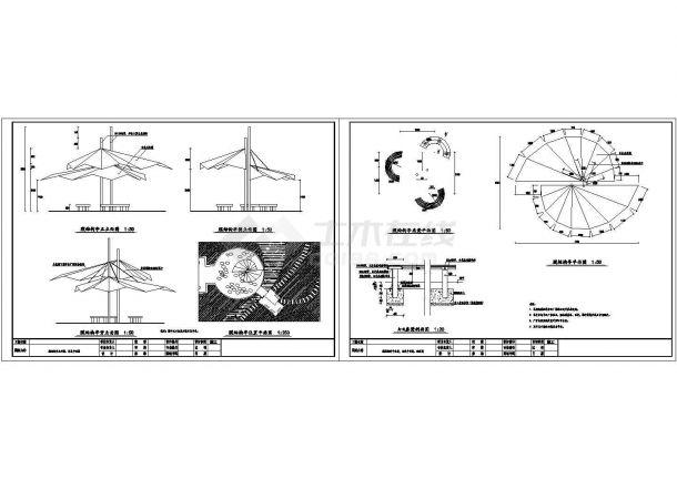 膜结构亭节点详图-图一