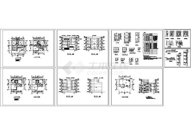 某四层现代风格别墅建筑施工图纸,标注较详细-图一