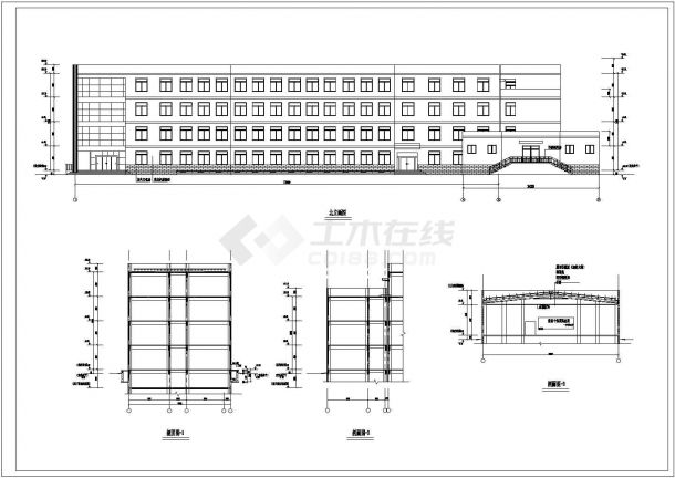 某中学四层教学楼及礼堂建筑设计方案图片