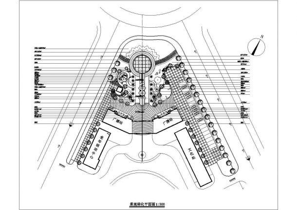 某政府广场绿化平面图-绿化CAD图-图一