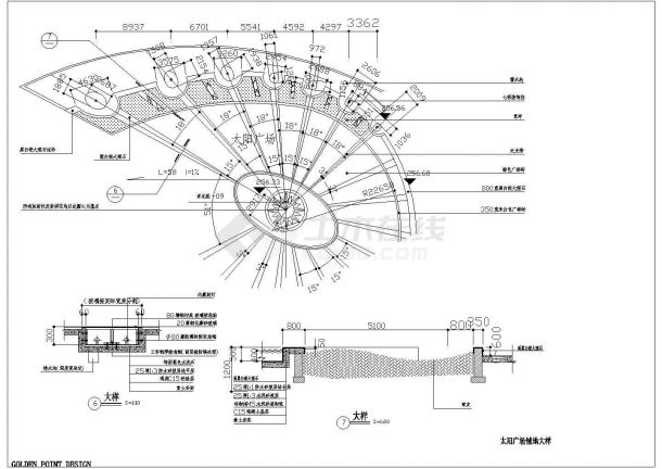 太阳广场景观施工图(园建)全套图纸-图一