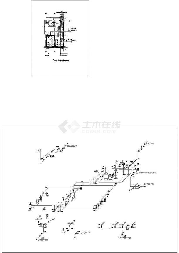 某小区浴室给排水管道系统图-图一