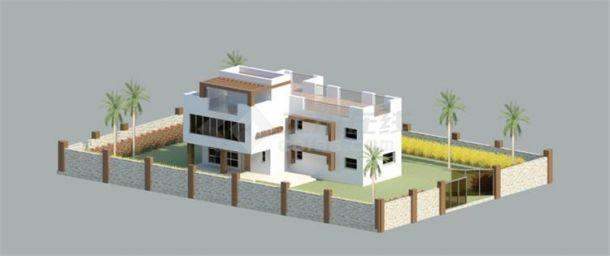 二层独院别墅BIM项目模型Revit-图二