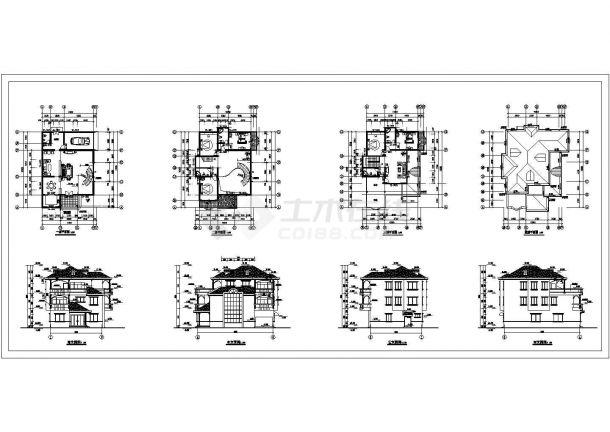 某地三层别墅建筑结构扩出设计cad图纸,共8张-图一