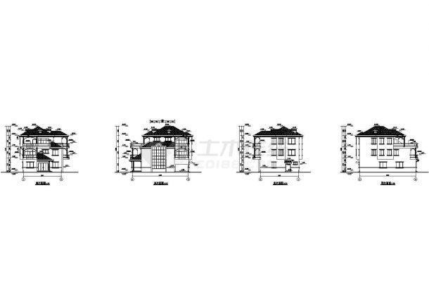 某地三层别墅建筑结构扩出设计cad图纸,共8张-图二