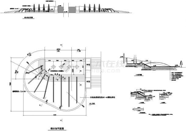 苏州园林设计CAD大样图(包涵喷泉、水幕、泳池)-图二