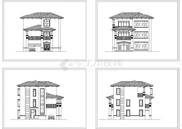 某三层别墅立面设计CAD图-图一