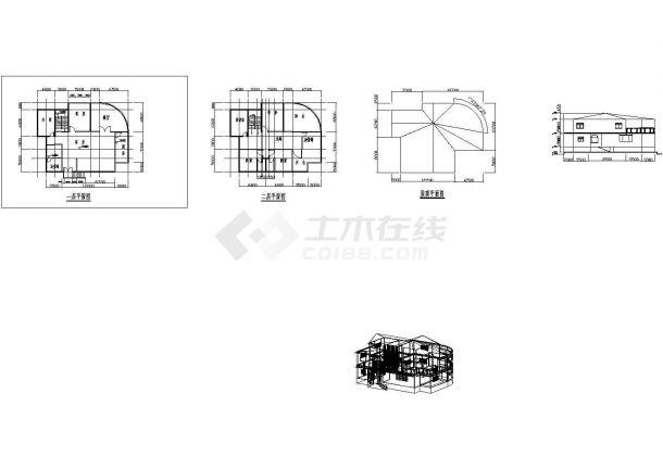 二层别墅平面图立面图及3D模型-图一