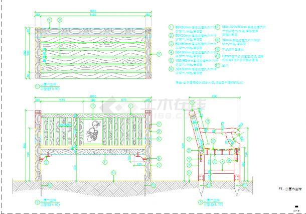 园林景观节点室外木座椅与垃圾桶设计施工图-图一