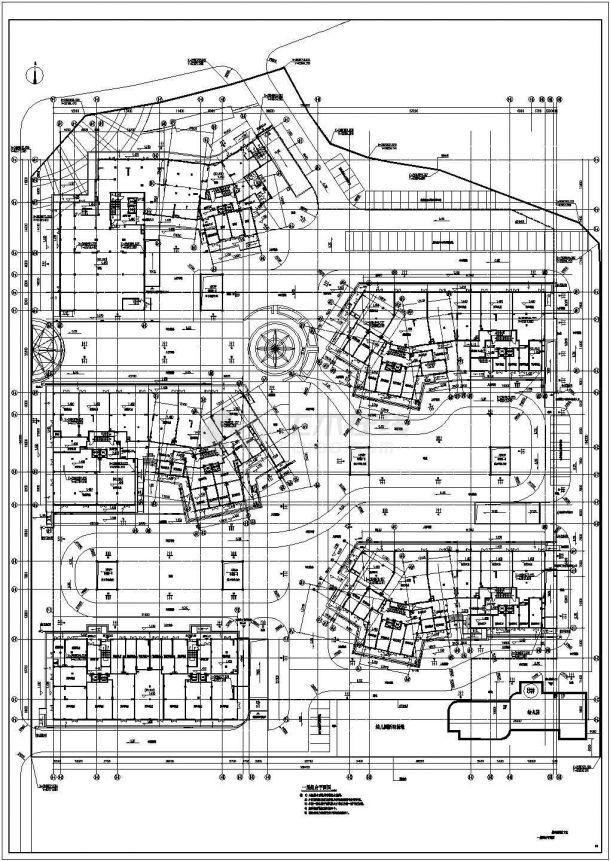 1.98万平方米人防地下室施工图-图一