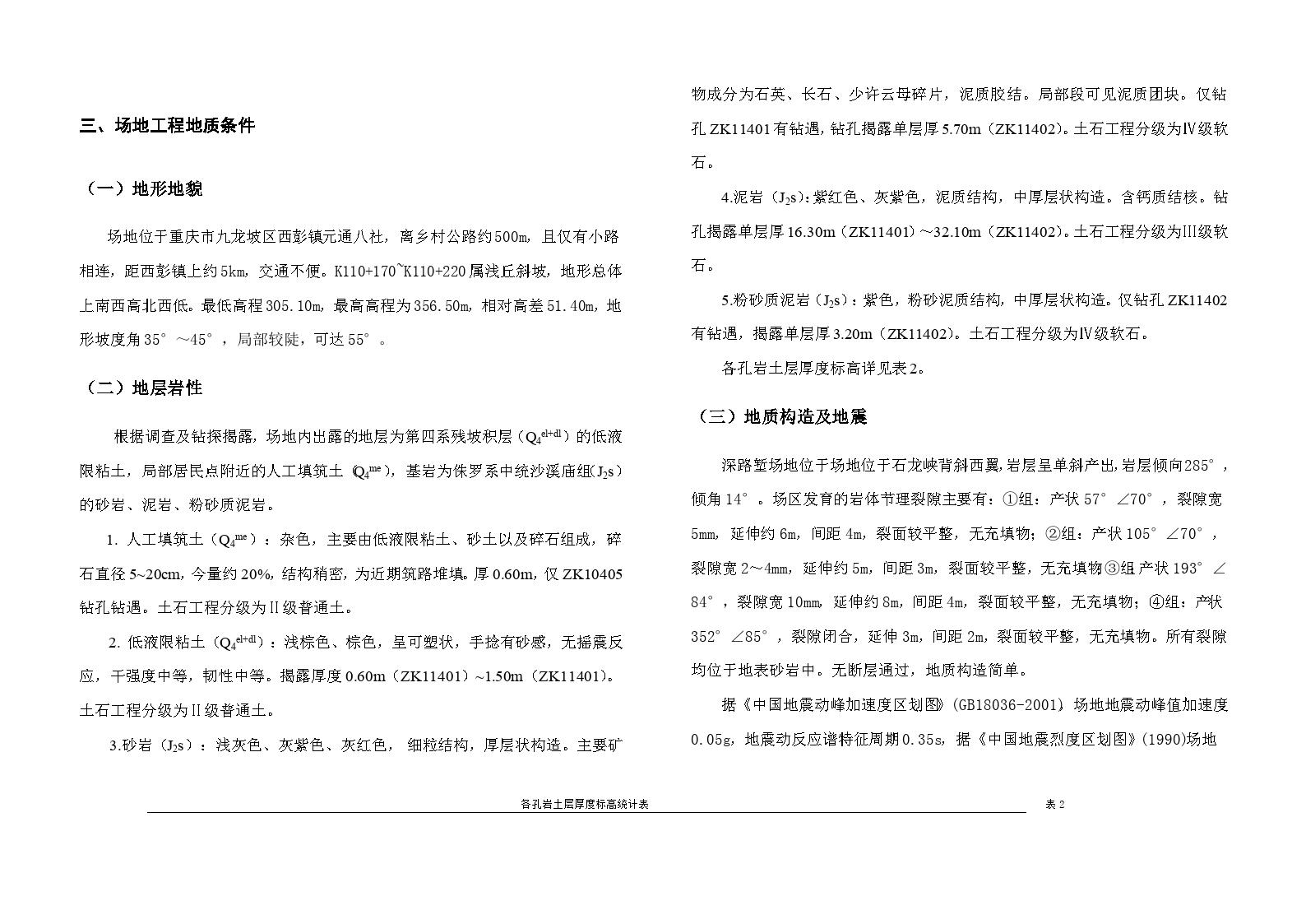 西部开发省际公路重庆绕城公路南段路基工点地质勘察资料-图一