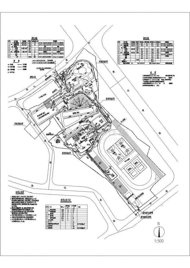 某学校水电管线综合图(含给排水说明)-图一