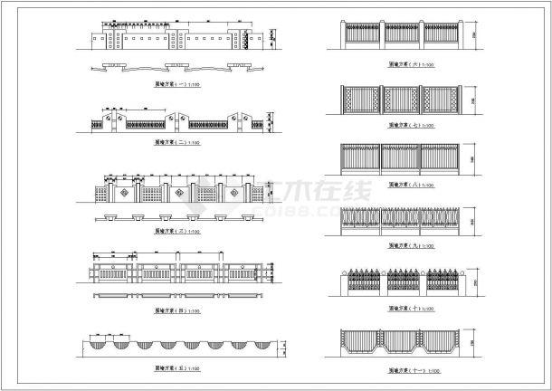 【苏州市】某小区围墙方案建筑搭建图纸-图一