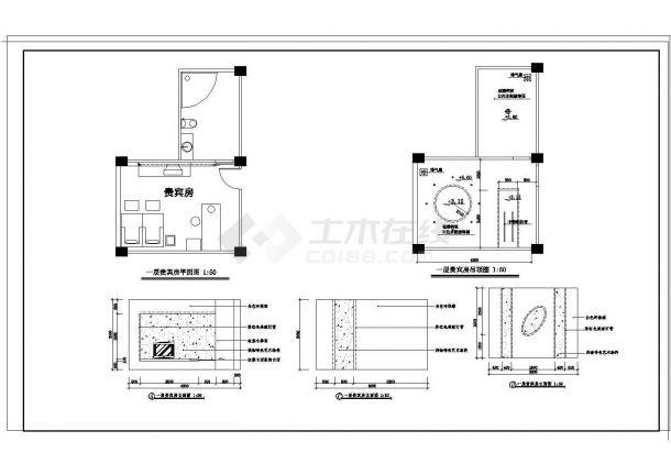 某城市商业街小型贵宾房装修设计图纸-图一