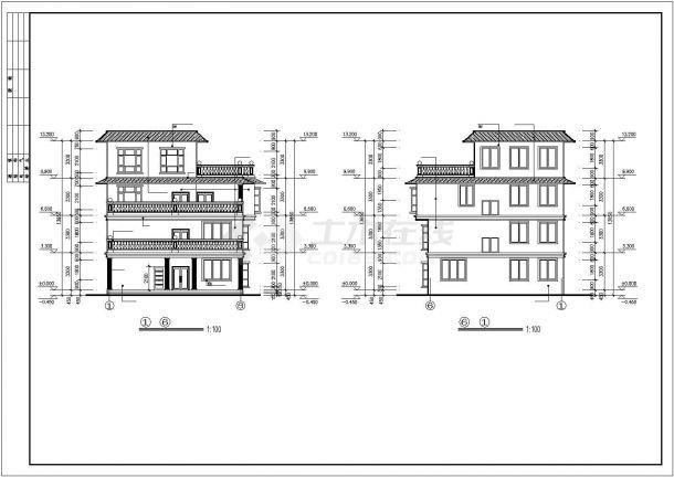 框架四层平屋顶自建房屋建筑设计图纸-图一