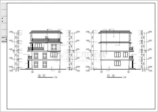 框架四层平屋顶自建房屋建筑设计图纸-图二