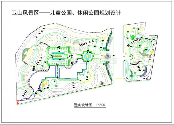 某地区大型休闲公园规划竖向设计图-图一