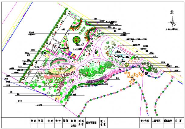 某地区大型公园植物配置绿化平面图-图一