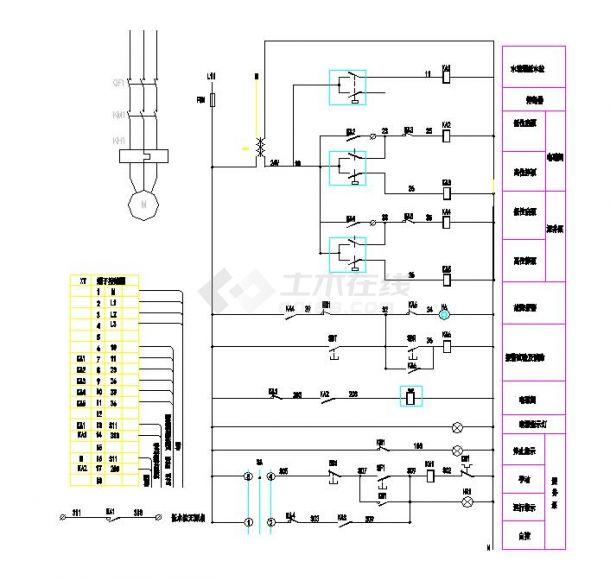 两台水泵控制原理电气设计施工图纸-图一