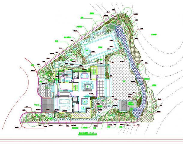 某地大型时尚别墅景观绿化设计方案图-图一
