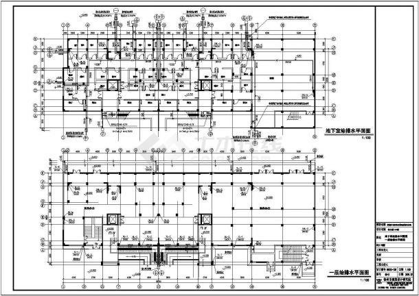 某地区高层住宅给排水带水箱设计图纸-图一