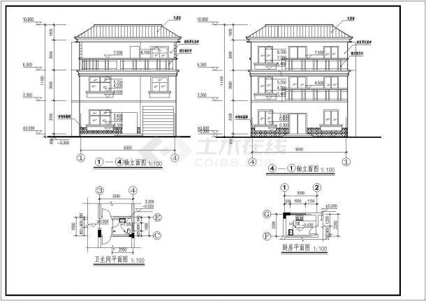 三层半砖混半框架农村自建房建筑结构图-图一