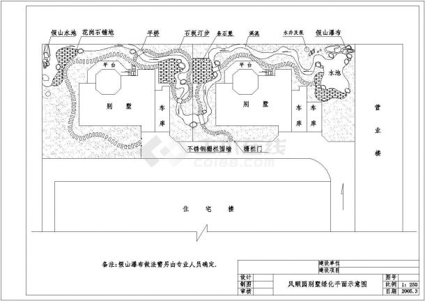 某地区别墅景观绿化平面施工图(共6张)-图一