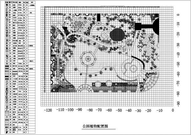 某市某公园景观植物配置平面设计图纸-图一