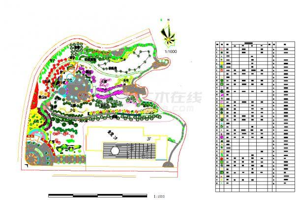 山体公园植物配置cad图(标注齐全)-图一