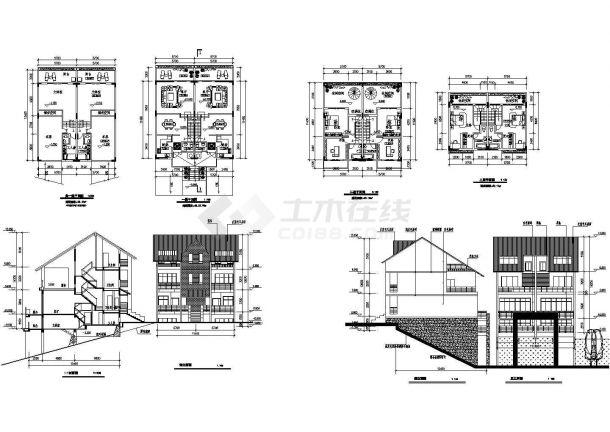 38套现代风格双拼别墅设计cad图(含二层别墅设计、三层别墅设计)-图二