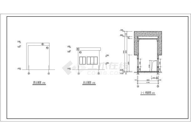 江苏某地区住宅小区围墙大门建筑设计CAD施工图-图二